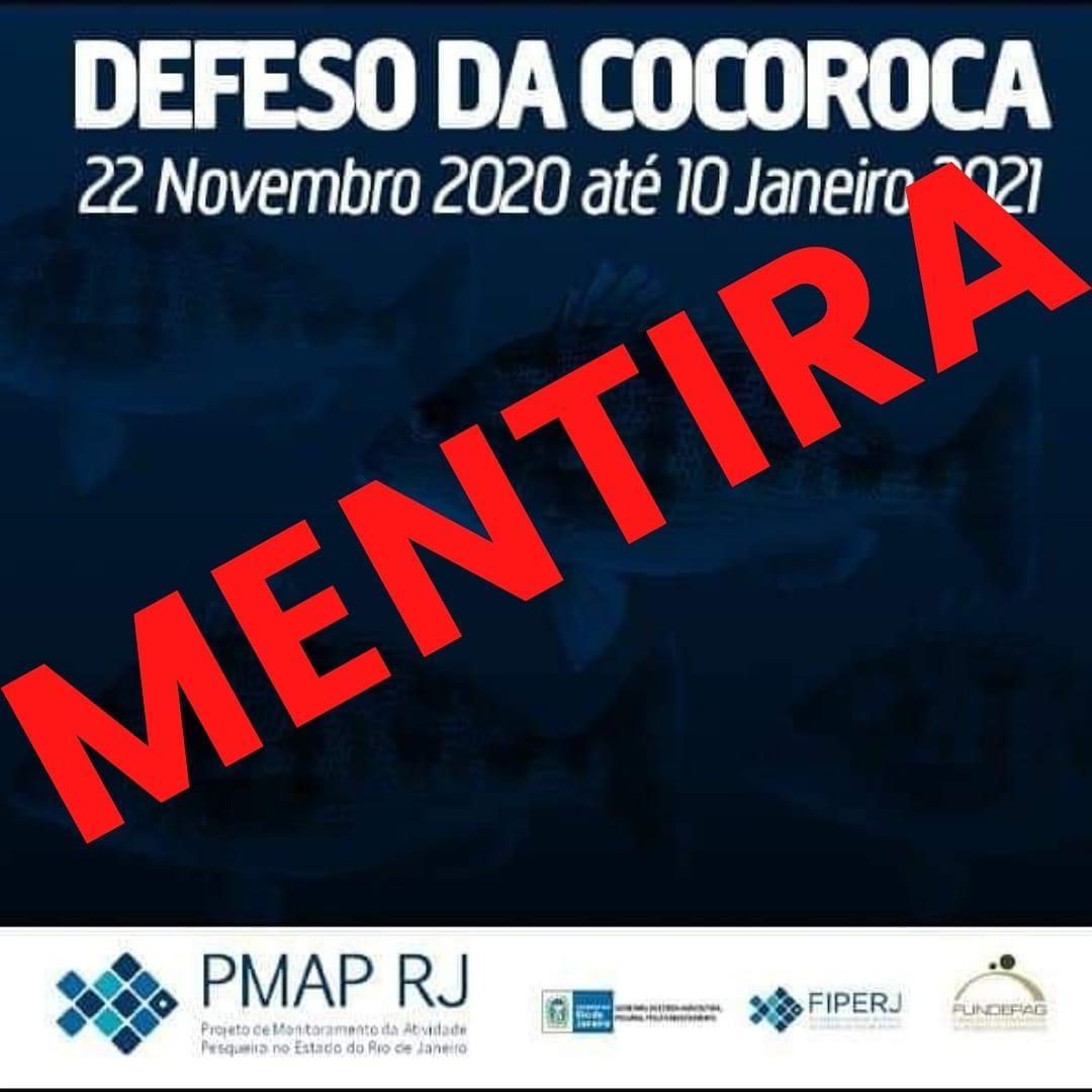 Imagem: Notícia falsa sobre defeso da Cocoroca e da Ubarana